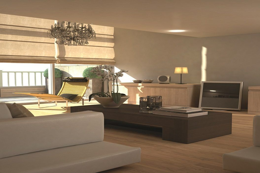 Soft-edged modern interior with wood colours and contemporary furniture.